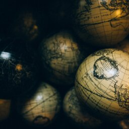 A collection of sepia globes