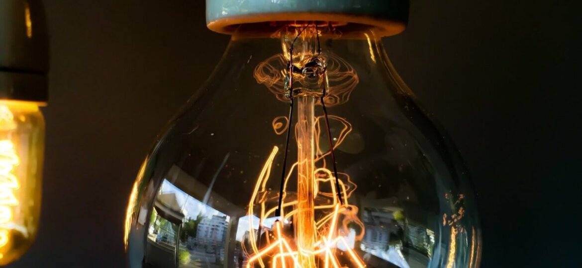Close up of hanging lightbulb