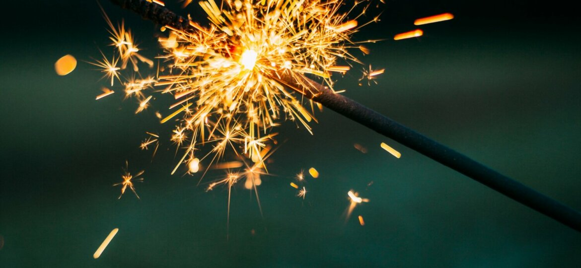 Two sparklers meet