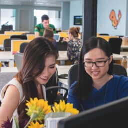 Two people, smiling, look down at a computer monitor. Sunflowers are on the desk.