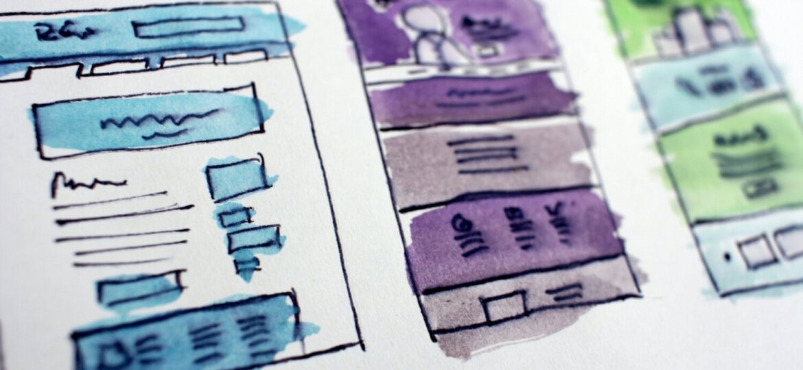 Water colour illustrations of mock data or page designs
