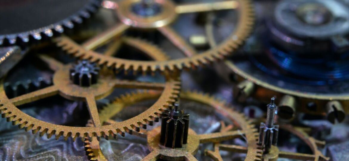 Gears resting on top of each other.
